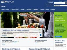 A preview of the new home page of ETH Zurich which will be launched on 29 October. (Screen shot: ETH Zurich)